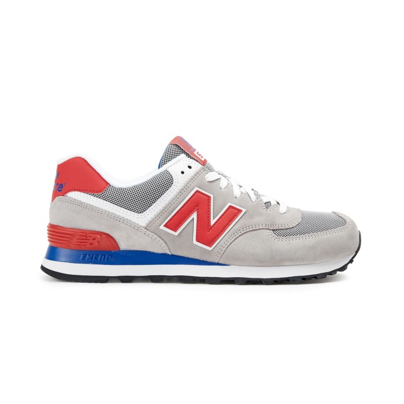 New Balance 574 Suede Mash  Grigio/Rosso
