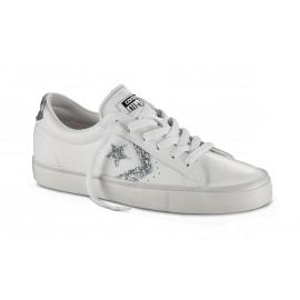 Converse Pro Lea Vulc Ox  Bianco/Silver Donna