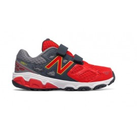 New Balance 680 Synthetic Velcro Ps/Gs Grigio/rosso