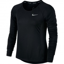 Nike T-Shirt Donna  Ml Rn Dry Miler Black
