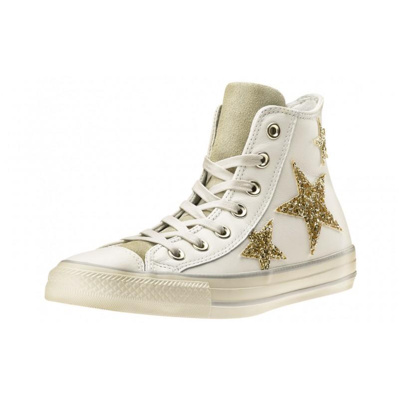Converse Scarpa Donna Hi Glitters Stars Lea White/Gold