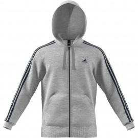 Adidas Felpa Full Zip C Capp 3 Stripe Grigio