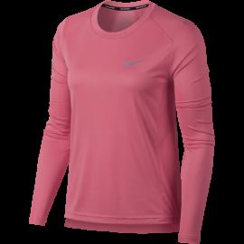 Nike T-Shirt Donna Ml Rn Dry Miler Sea Coral
