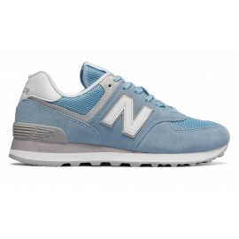 New Balance Donna 574 Suede/Mesh Azzurro/Bianco