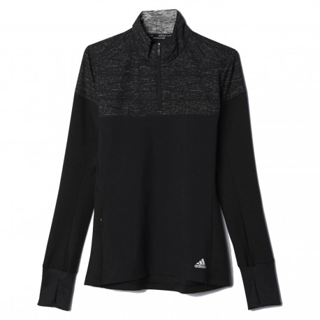 Adidas T-Shirt Ml Run Supernova 1/2 Zip Donna Black