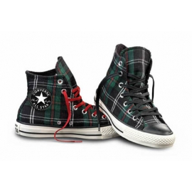 Converse All Star Hi Textile Green Tartan Donna