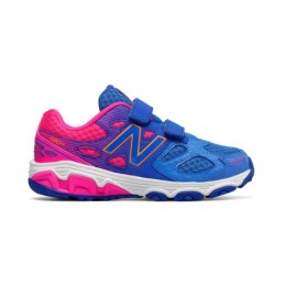 New Balance 680 Synthetic Velcro Ps/Gs Blu/rosa