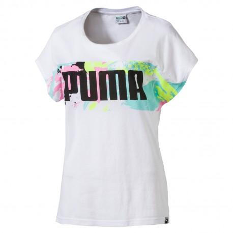 Puma T-Shirt Donna Mm Logo  Bianco