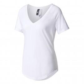 Adidas T-shirt Donna Mm Scollo Ampio Bianco