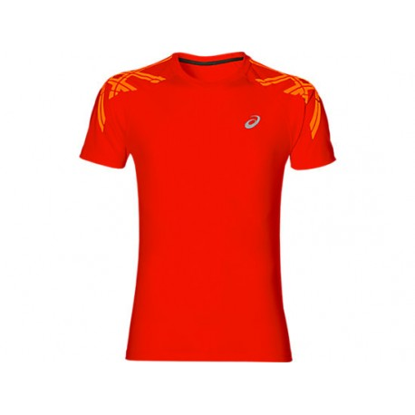 Asics T-shirt Mm Run Stripe Fiery Red