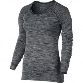 Nike T-Shirt Donna  Ml Rn Df Knit Black/Htr