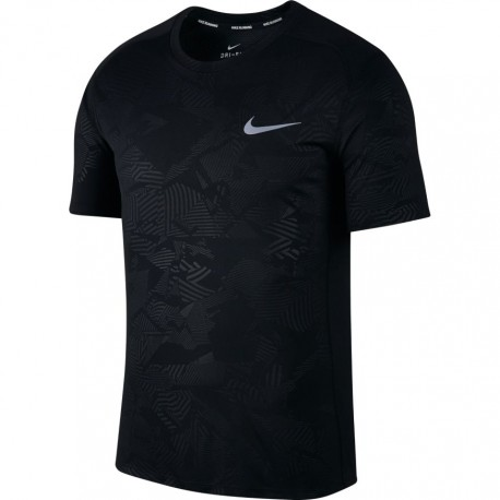 Nike T-Shirt Mm Run Dry Miler Pr    Black