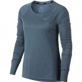 Nike T-Shirt Donna  Ml Run Dry Miler Armory Blue