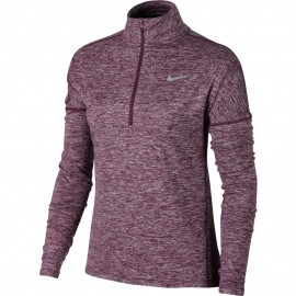 Nike T-Shirt Donna  Ml Run Dry Elmnt Hz Port Wine