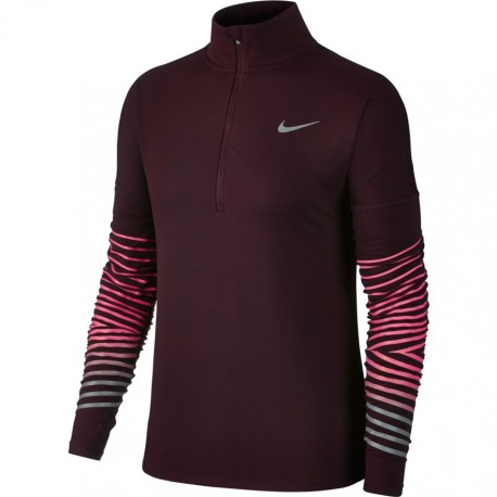 Nike T-Shirt Donna  Ml Run Flsh Elmnt Hz    Port Wine