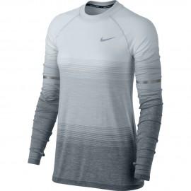 Nike T-Shirt Donna  Ml Run Df Knit Ls Nv Pure Platinum/Wolf Grey