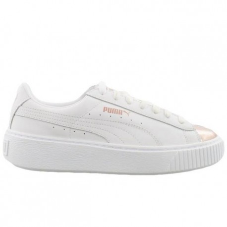 Puma Scarpa Donna Basket Platform Metallic White Rosegold