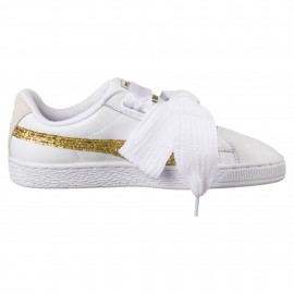 Puma Scarpa Donna Basket Heart Glitter Bianco/Oro