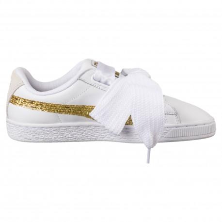 PUMA Basket Heart GLITTER Scarpe Sneaker Donna 364078 01 Bianco