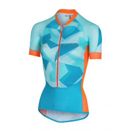 Castelli Maglia Climber's Donna Sky Blue/Orange Fluo