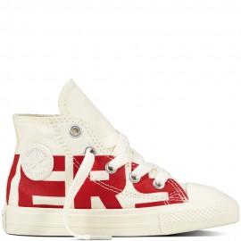 72e25ae3879a7c Converse Bambino Canvas Wordmark Hi Bianco Rosso