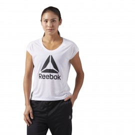 Reebok T-Shirt Donna Giro Logo Train Bianco