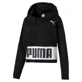 Puma Felpa Donna Corta C/Capp Nero/Bianco