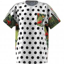 Adidas Originals T-Shirt Donna Mm Pois Or  Bianco