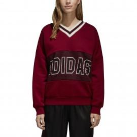Adidas Originals Felpa Donna Scollo V Over Bordeaux 6d811b71995d