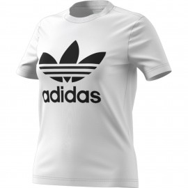 ADIDAS originals maglietta palestra trefoil bianco donna
