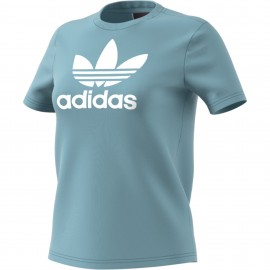 Adidas Originals T-Shirt Donna Logo Or Azzurro