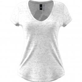ADIDAS t-shirt donna collo ampio ess bianco
