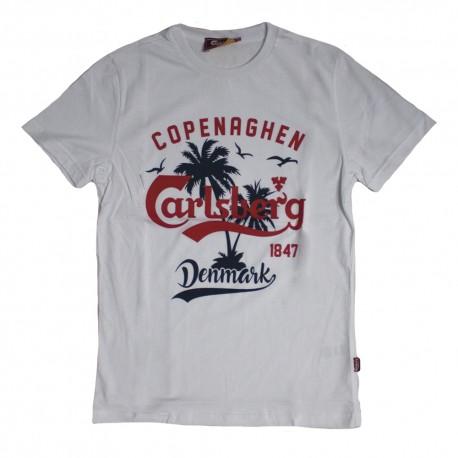 Carlsberg T-Shirt Logo Palme Bianco