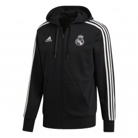 Adidas Felpa C/Capp Real Full Zip Nero/Bianco Uomo
