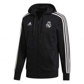Adidas Felpa C/Capp Real Full Zip Nero/Bianco