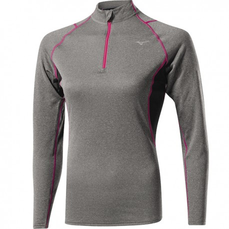 Mizuno Bt T-Shirt Ml Run 1/2 Zip Wool Finegrey/Pink Donna