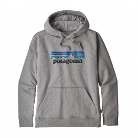 Patagonia Felpa In Pile Con Cappuccio P-6 Logo Grigio Uomo