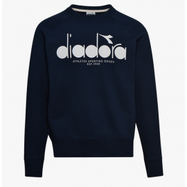Diadora Felpa Girocollo Logo Blu Uomo