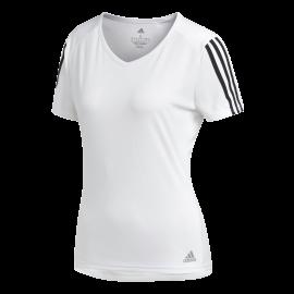 Adidas Maglia Running Manica Corta Running 3 Stripes Bianco Nero Donna