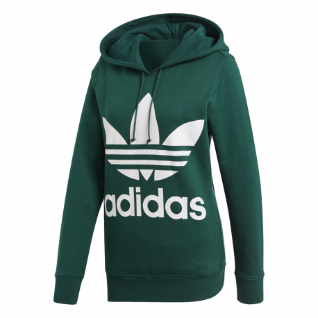 sportshock ADIDAS originals felpa trefoil hoodie verde donna ce2412... 3205a404a622