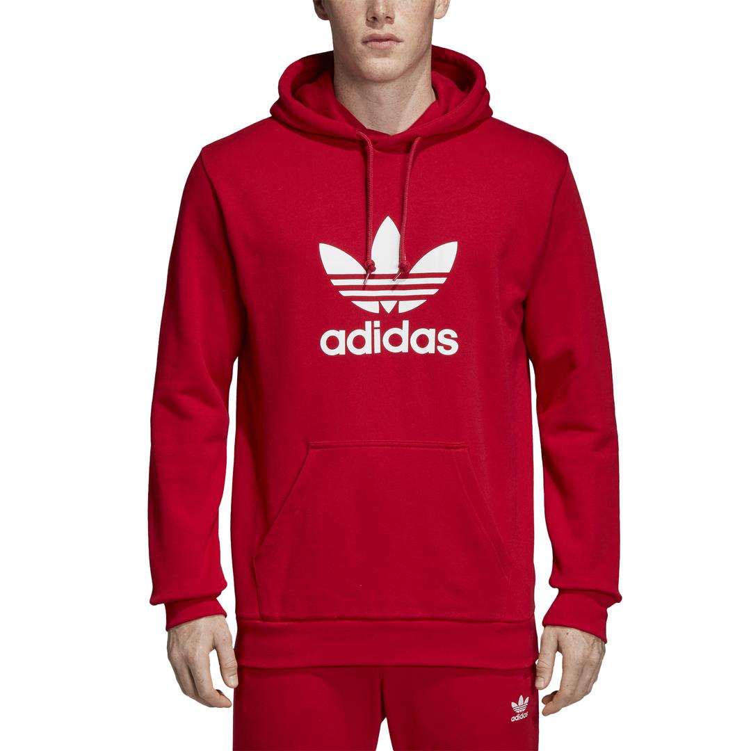 sportshock ADIDAS originals felpa trefoil hoodie rosso uomo dx3614 ... 2913d9e27d9b