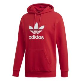 ADIDAS originals felpa trefoil hoodie rosso uomo