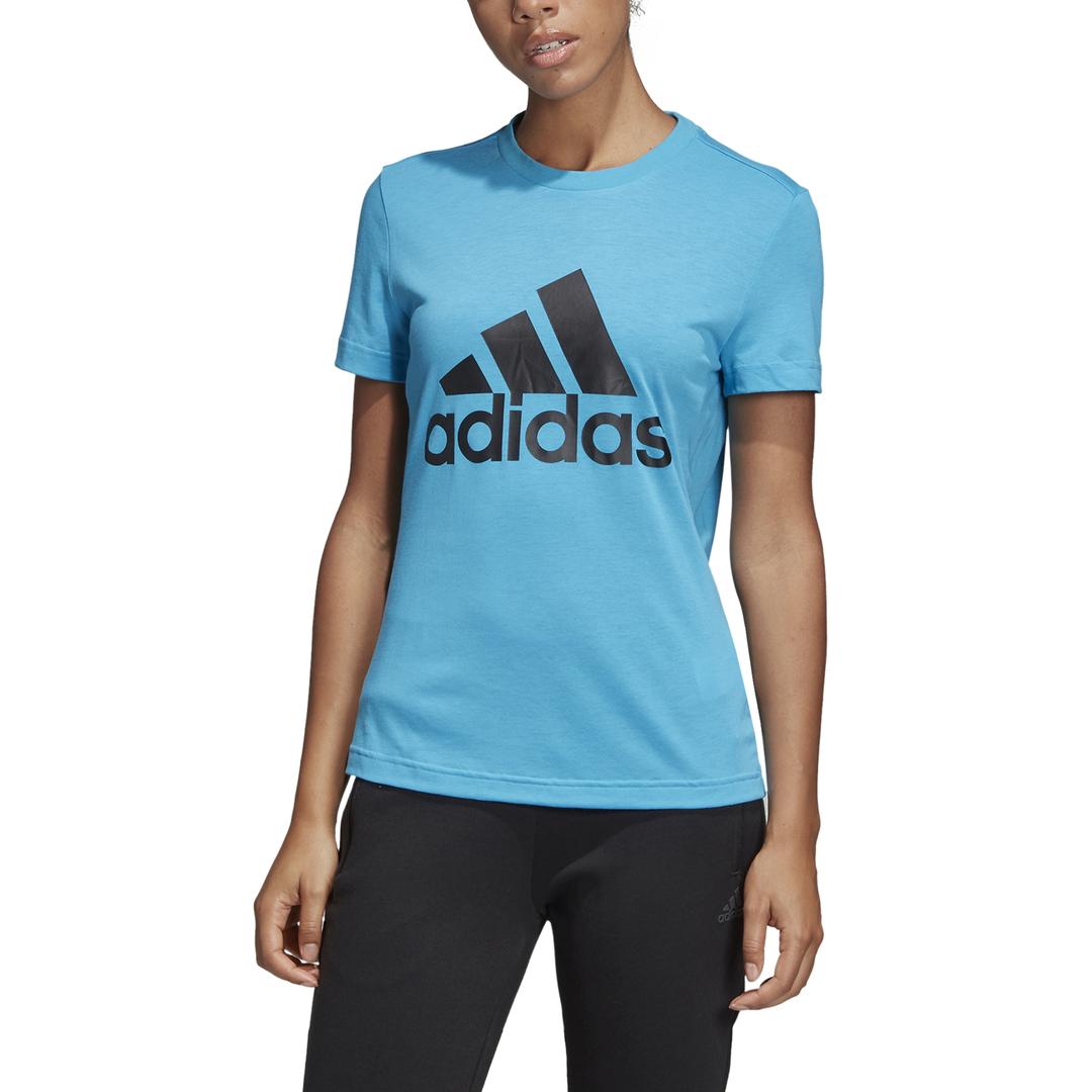 sportshock ADIDAS t shirt must have badge of sport azzurro donna dz