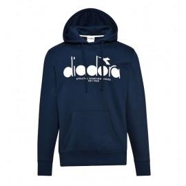 Diadora Felpa Con Cappuccio Logo Blu Uomo