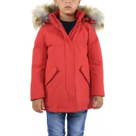 Canadian Parka Piuma D'oca Con Cappuccio Rosso Bambino