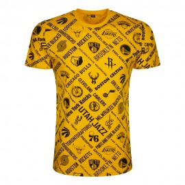 New Era T-Shirt Nba Aop Logo Giallo Nero Uomo