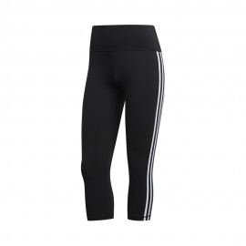 ADIDAS leggings sportivi 3/4 3 stripes nero donna