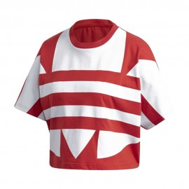 ADIDAS originals t-shirt crop top big logo rosso donna