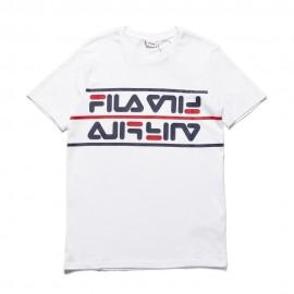 Fila T-Shirt Multilogo Bianco Uomo