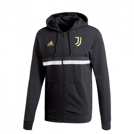 Adidas Felpa Calcio C/Capp Juve 3 Stripes Nero Bianco Uomo